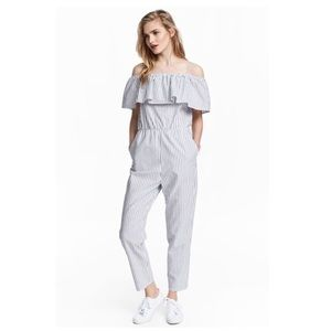H&M Striped Cold Shoulder Ruffle Sleeve Jumpsuit